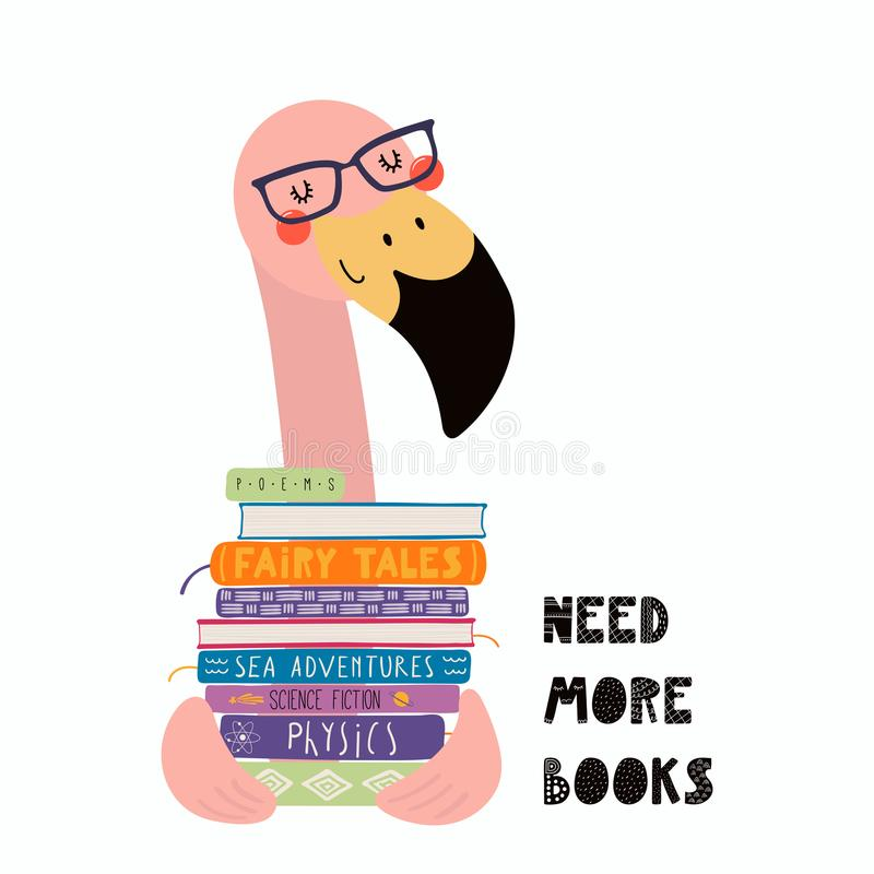 cute flamingo stack books hand drawn vector illustration cute funny flamingo stack books quote need more 123910339